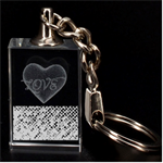 Polka Dot Sparkley Jewels 2 Heart 3D Engraving Key Chain