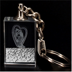 Polka Dot Sparkley Jewels 2 Intertwined Heart 3D Engraving Key Chain