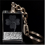 Polka Dot Sparkley Jewels 2 Clover 3D Engraving Key Chain