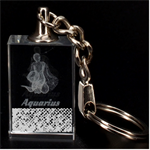 Polka Dot Sparkley Jewels 2 Aquarius Zodiac 3D Engraving Key Chain