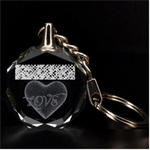 Polka Dot Sparkley Jewels 2 Heart 3D Engraving Circle Key Chain