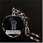 Polka Dot Sparkley Jewels 2 Teddy Bear 3D Engraving Heart Key Chain