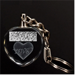Polka Dot Sparkley Jewels 2 Heart 3D Engraving Heart Key Chain
