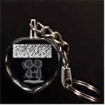Polka Dot Sparkley Jewels 2 Couple 3D Engraving Heart Key Chain