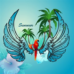 Summer Design With Cute Parrot And Palms Canvas 20  X 20   by FantasyWorld7