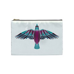 Stained Glass Bird Illustration  Cosmetic Bag (medium)  by carocollins