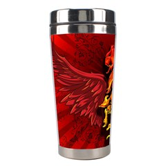 Lion With Flame And Wings In Yellow And Red Stainless Steel Travel Tumblers by FantasyWorld7