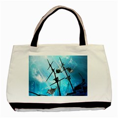 Awesome Ship Wreck With Dolphin And Light Effects Basic Tote Bag