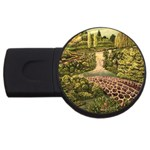 Country Waterfall by Ave Hurley - USB Flash Drive Round (4 GB)