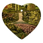 Country Waterfall by Ave Hurley - Heart Ornament (Two Sides)