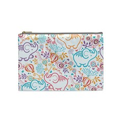Cute Pastel Tones Elephant Pattern Cosmetic Bag (medium)  by Dushan