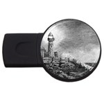 Frank Clark Lighthouse -AveHurley ArtRevu.com- USB Flash Drive Round (4 GB)