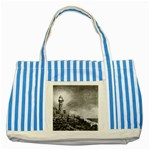Frank Clark Lighthouse -AveHurley ArtRevu.com- Striped Blue Tote Bag