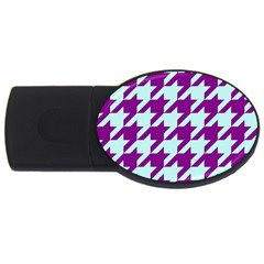 Houndstooth 2 Purple Usb Flash Drive Oval (4 Gb)  by MoreColorsinLife