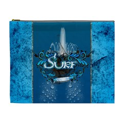 Surf, Surfboard With Water Drops On Blue Background Cosmetic Bag (xl) by FantasyWorld7