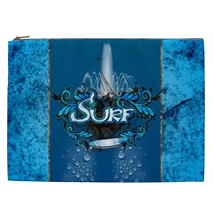 Surf, Surfboard With Water Drops On Blue Background Cosmetic Bag (xxl)  by FantasyWorld7