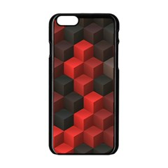 Artistic Cubes 7 Red Black Apple Iphone 6/6s Black Enamel Case by MoreColorsinLife