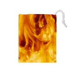 Yellow Flames Drawstring Pouches (medium)  by trendistuff