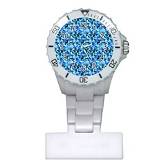 Turquoise Blue Abstract Flower Pattern Nurses Watches by Costasonlineshop