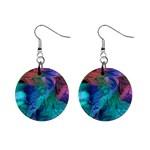Caribbean Sea Watercolors Fractal 1  Button Earrings