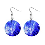 Winter Night Trees Moon And Stars 1  Button Earrings