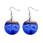 Winter Breaking Ice And Blue City Sunset 1  Button Earrings