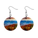 Red And Yellow Trees Autumn Mountains 1  Button Earrings