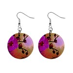 Pink Orchid Flowers In The Sun 1  Button Earrings