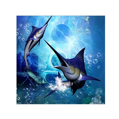 Awersome Marlin In A Fantasy Underwater World Small Satin Scarf (square)  by FantasyWorld7