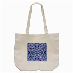 Elegant Turquoise Blue Flower Pattern Tote Bag (cream)  by Costasonlineshop
