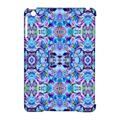 Elegant Turquoise Blue Flower Pattern Apple Ipad Mini Hardshell Case (compatible With Smart Cover) by Costasonlineshop