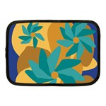 Urban Garden Abstract Flowers Blue Teal Carrot Orange Brown Netbook Case (Medium)
