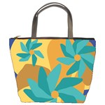 Urban Garden Abstract Flowers Blue Teal Carrot Orange Brown Bucket Bags