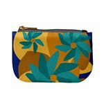 Urban Garden Abstract Flowers Blue Teal Carrot Orange Brown Mini Coin Purses