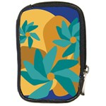 Urban Garden Abstract Flowers Blue Teal Carrot Orange Brown Compact Camera Cases
