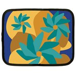 Urban Garden Abstract Flowers Blue Teal Carrot Orange Brown Netbook Case (XL)