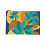Urban Garden Abstract Flowers Blue Teal Carrot Orange Brown Cosmetic Bag (Large)
