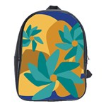 Urban Garden Abstract Flowers Blue Teal Carrot Orange Brown School Bags(Large)
