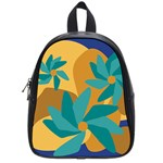 Urban Garden Abstract Flowers Blue Teal Carrot Orange Brown School Bags (Small)