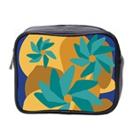 Urban Garden Abstract Flowers Blue Teal Carrot Orange Brown Mini Toiletries Bag 2-Side