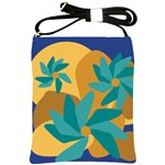 Urban Garden Abstract Flowers Blue Teal Carrot Orange Brown Shoulder Sling Bags
