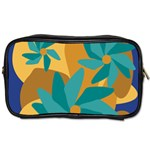 Urban Garden Abstract Flowers Blue Teal Carrot Orange Brown Toiletries Bags 2-Side