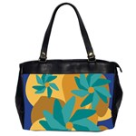 Urban Garden Abstract Flowers Blue Teal Carrot Orange Brown Office Handbags (2 Sides)