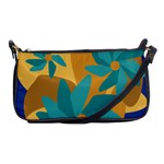 Urban Garden Abstract Flowers Blue Teal Carrot Orange Brown Shoulder Clutch Bags
