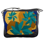 Urban Garden Abstract Flowers Blue Teal Carrot Orange Brown Messenger Bags