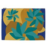Urban Garden Abstract Flowers Blue Teal Carrot Orange Brown Cosmetic Bag (XXL)