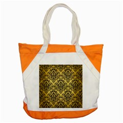 Damask1 Black Marble & Gold Brushed Metal (r) Accent Tote Bag