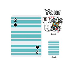Teal Adn White Stripe Designs Playing Cards 54 (mini)  by timelessartoncanvas