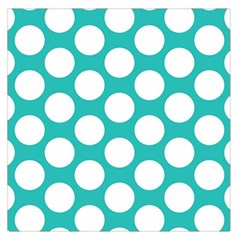Turquoise Polkadot Pattern Large Satin Scarf (square) by Zandiepants