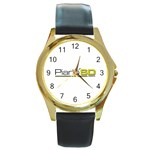 Logo Med Round Gold Metal Watch Front